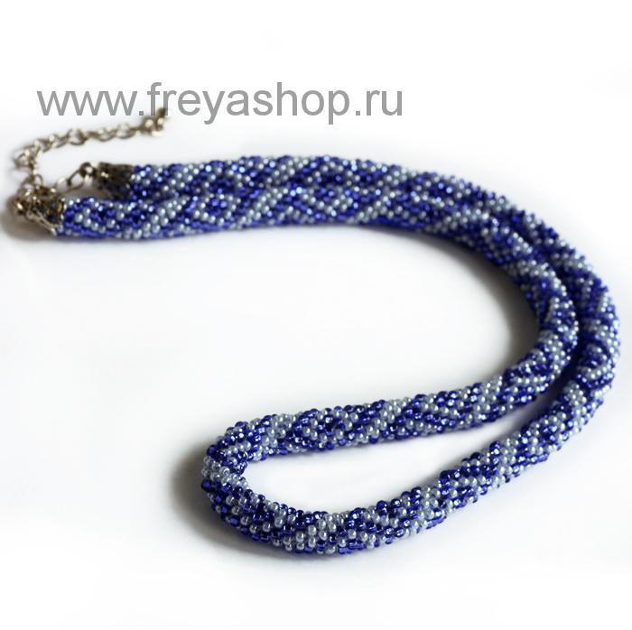 Васильково белое колье жгут из бисера