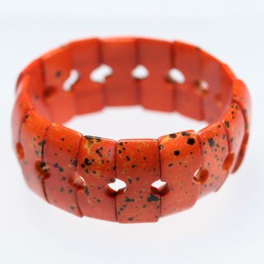 Оранжевый браслет из пластин, кость буйвола, Индия