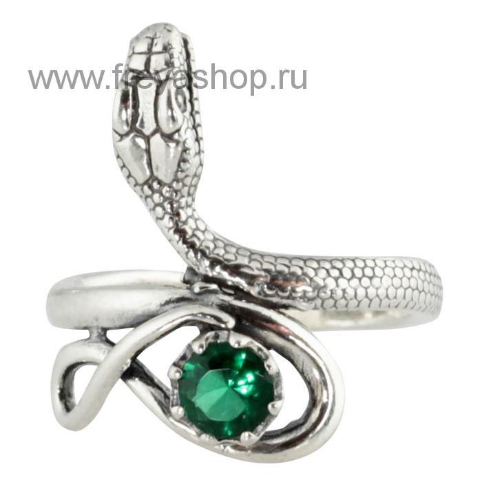 Серебряное кольцо-змейка с фианитом, Россия.