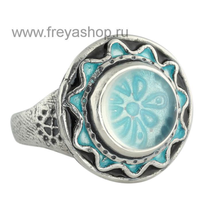Кольцо с цветами и эмалью