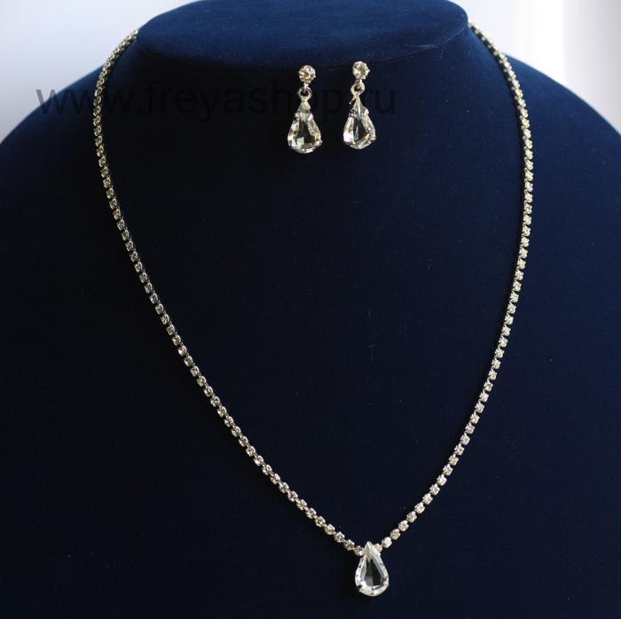 Комплект из колье и серег Сама элегантность, кристаллы Сваровски, Чехия