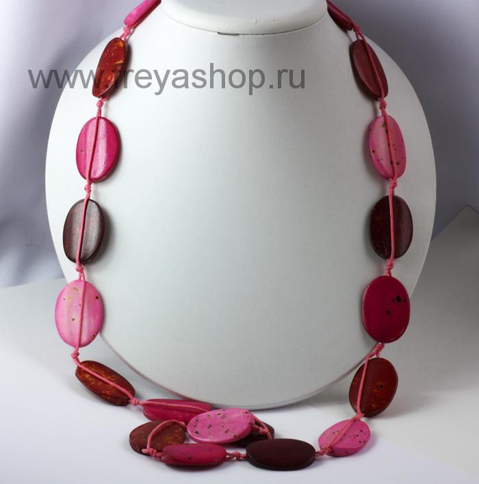 Длинные бусы из овальных пластин розовых тонов, Индия