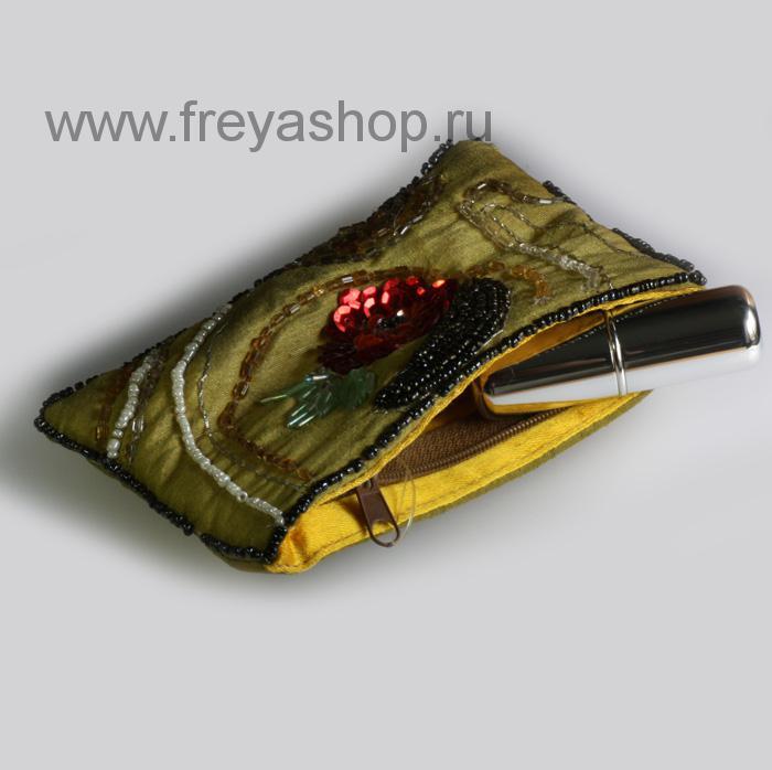 Кошелек-косметичка с узором из бисера и пайеток, Индия.