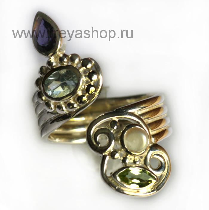 Серебряное кольцо из Индии с камнями