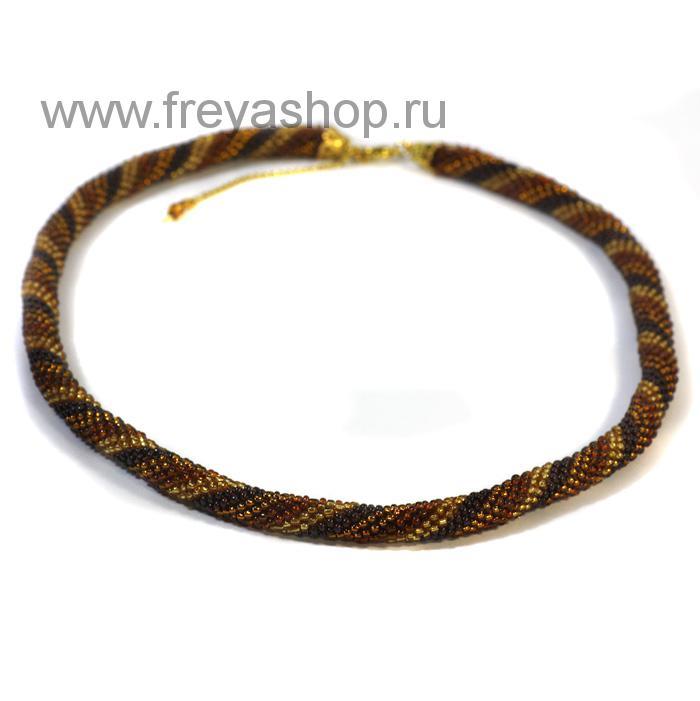Коричневое колье-жгут из бисера с витым узором, авторская работа, Россия.