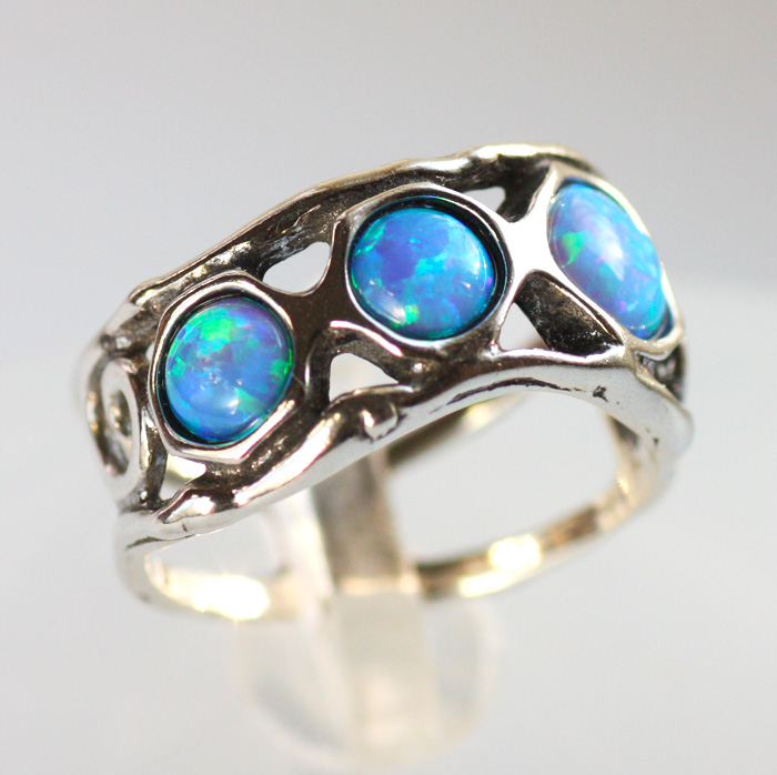 Серебряное кольцо с опалами, Израиль